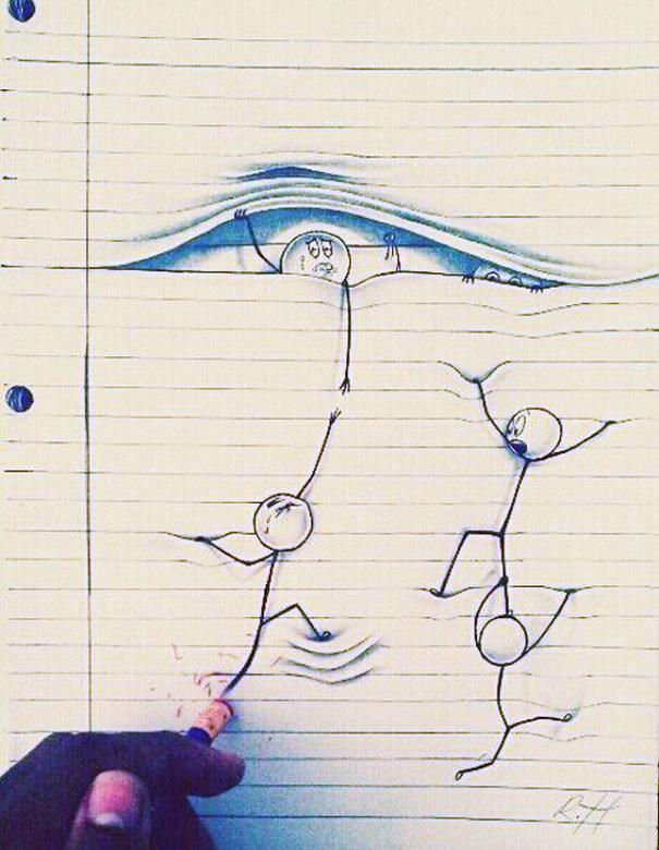 Drawing Lines Between : Creativos garabatos que se salen del papel bored panda