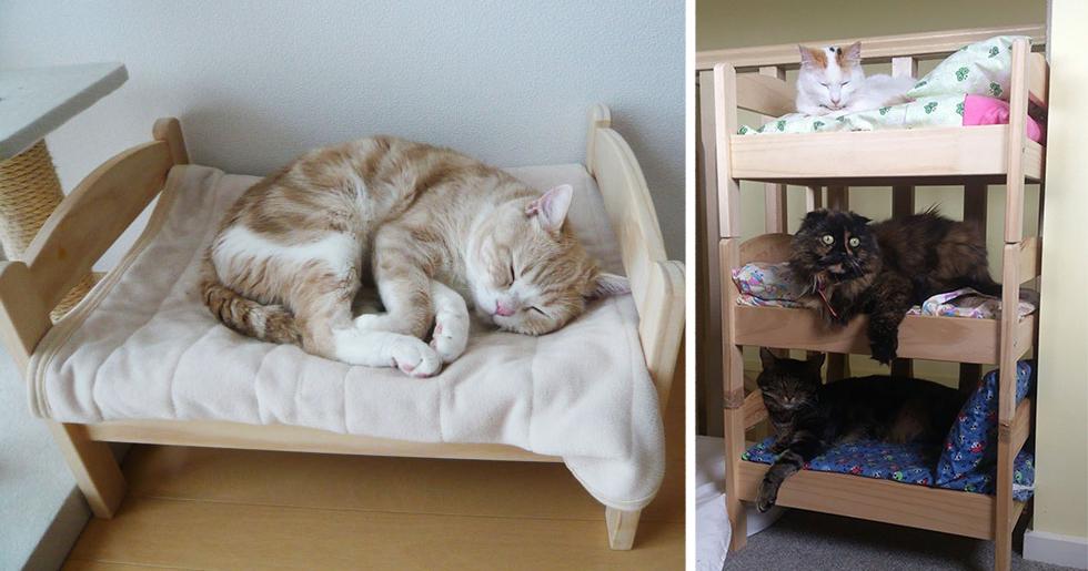C mo transformar una cama de mu ecas de ikea en una for Muebles para gatos ikea