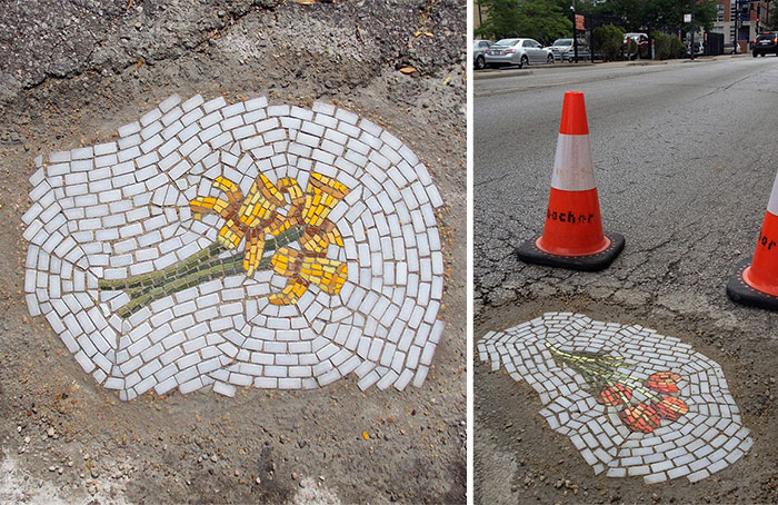 Mosaicos De Flores En Los Baches De Chicago   Bored Panda
