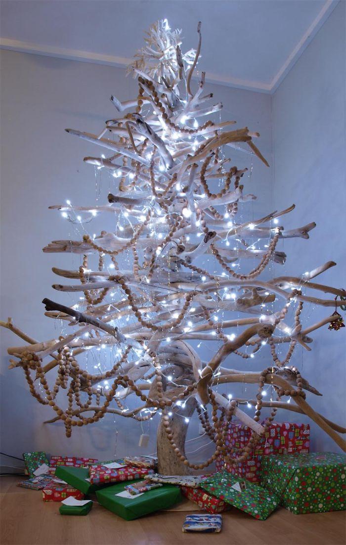 rbol de navidad hecho de ramas - Arboles De Navidad Caseros