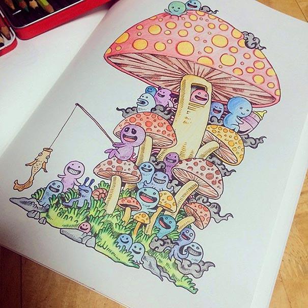 """Doodle Invasion"""", el libro de colorear para adultos de Kerby Rosanes ..."""