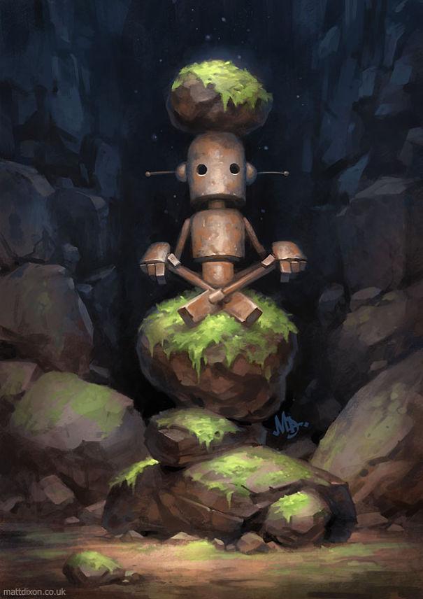 Pinturas-de-robots-solitarios-contemplando-el-mundo (12)