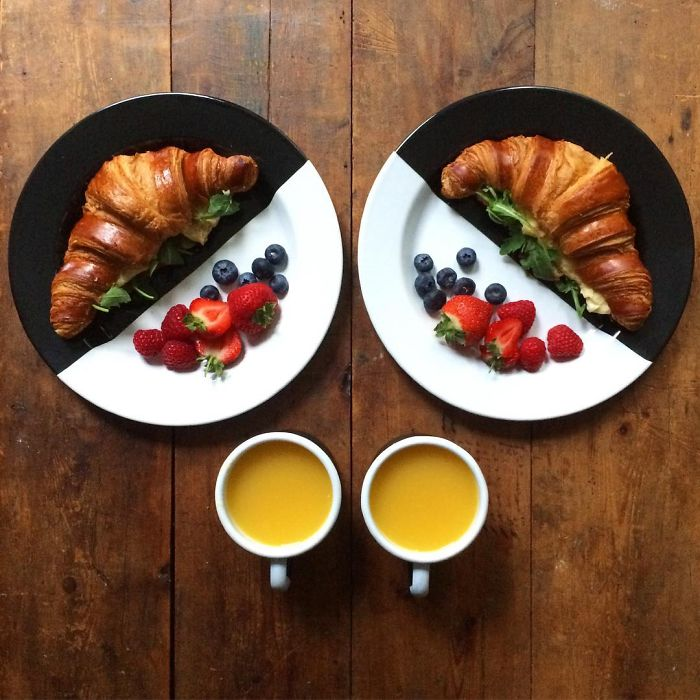 Este hombre hace desayunos simétricos para compartir con su novio cada mañana