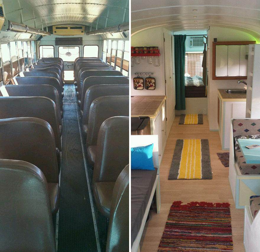 Padre e hijo transforman un viejo autobús escolar en una casita de ensueño para viajar