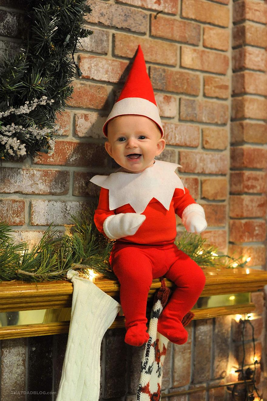 Este padre de 6 hijos convierte a su bebé en un adorable elfo