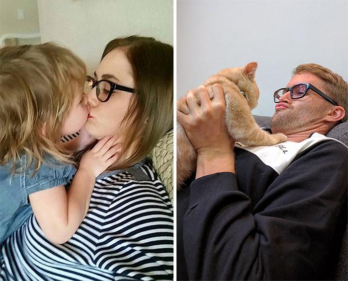 Un chico soltero utilizando un gato recrea fotos de su hermana gemela con su bebé (7 fotos)