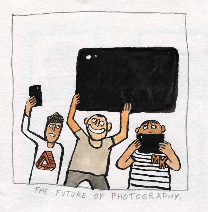 Ilustraciones sobre la adicción a la tecnología en nuestras vidas, por Jean Jullien