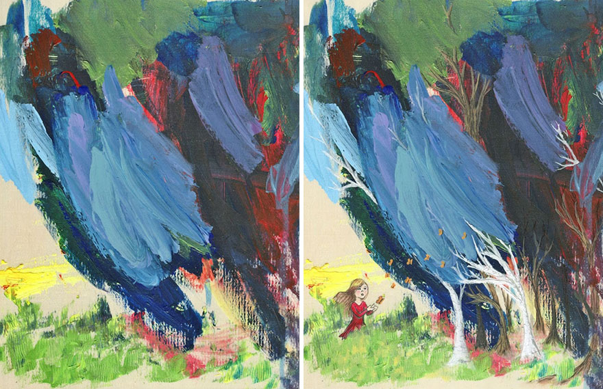 Esta madre convierte en pinturas los garabatos de su hija de 3 años