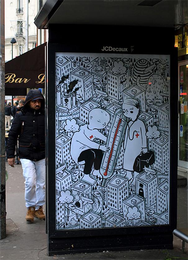 Artistas llenan París con 600 anuncios falsos protestando por el patrocinio corporativo de la Conferencia sobre el Cambio Climático
