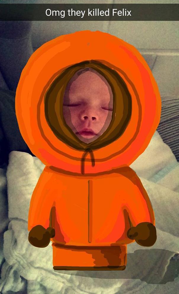 Este padre hace adorables dibujos en las fotos de Snapchat de su bebé