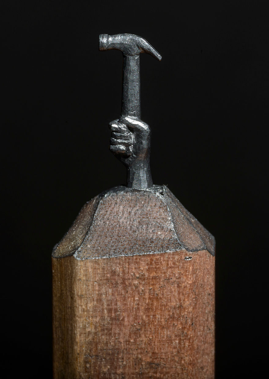 Tallé este lápiz de carpintero en forma de tren