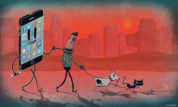 ......Ilustrando la reaidad..... - Página 2 Ilustraciones-satiricas-adiccion-tecnologia-1