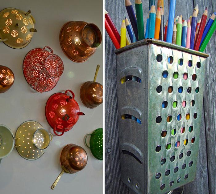 15 maneras creativas de reutilizar viejos utensilios de for Utensilios de cocina viejos