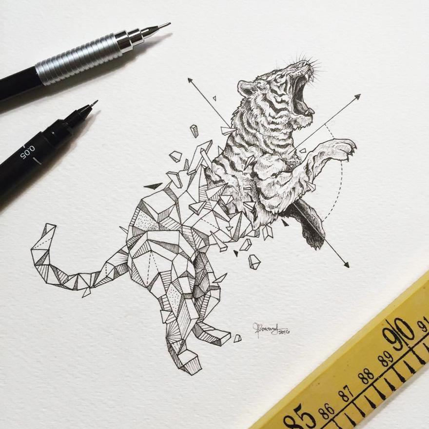 intrincados dibujos de animales salvajes fusionados con formas geom tricas bored panda. Black Bedroom Furniture Sets. Home Design Ideas