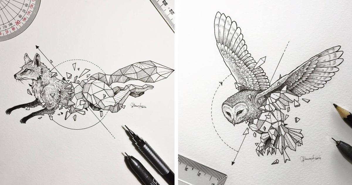 Intrincados Dibujos De Animales Salvajes Fusionados Con