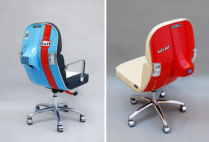 Viejas motos vespa convertidas en modernas sillas de for Sillas de oficina modernas
