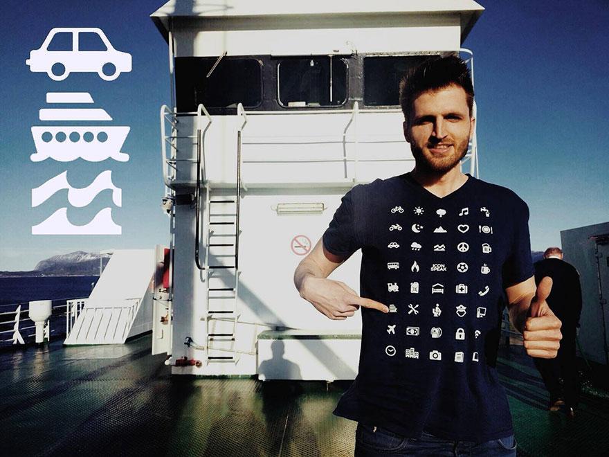 Camiseta 40 emoticonos para viajeros que te permite comunicarte en cualquier país aunque no sepas hablar su idioma