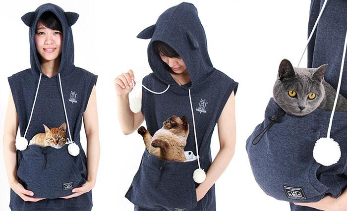 Esta sudadera gatuna con bolsa de canguro te permite llevar a tu gato donde quieras (edición de verano)