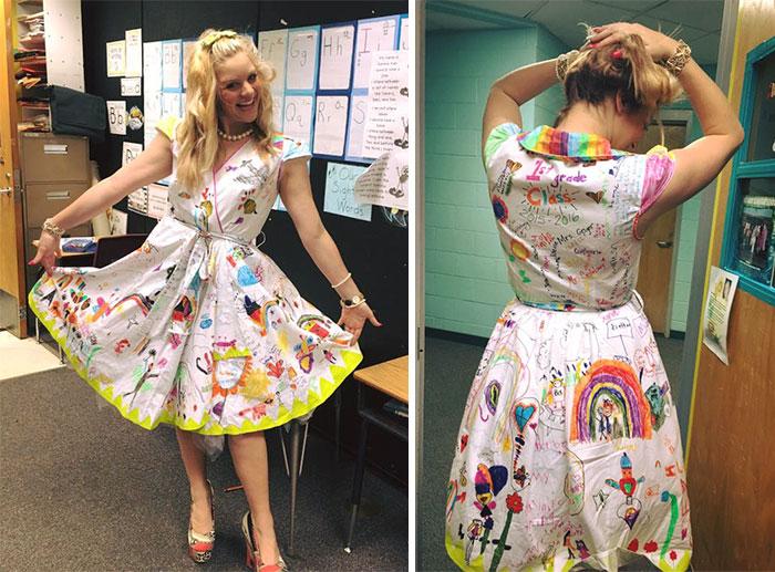 Esta profesora de primer grado deja que sus alumnos pinten su vestido en el último día de clase