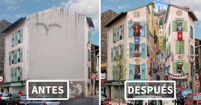 Este artista francés transforma las aburridas paredes urbanas en vibrantes escenas llenas de vida