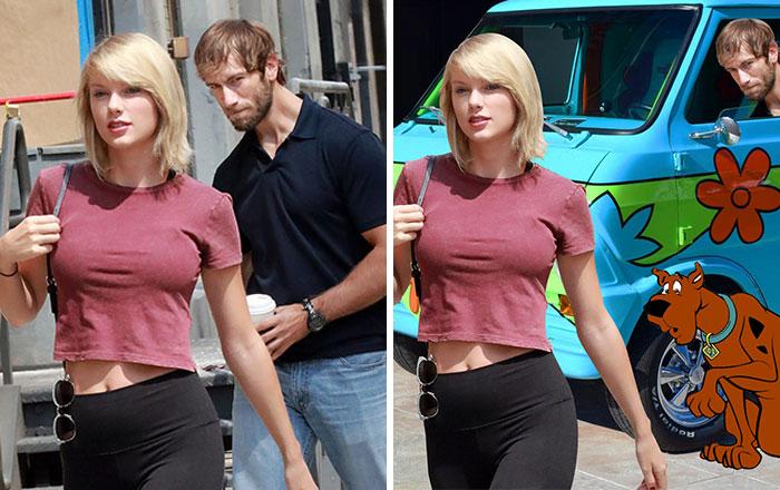 Pillan a este hombre mirando a Taylor Swift y se arma una batalla de Photoshop