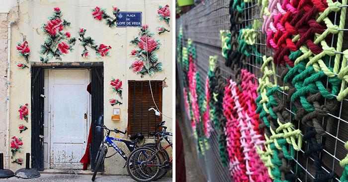 Arte urbano de punto de cruz en España, por Raquel Rodrigo