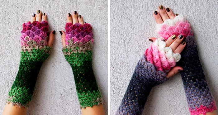 Estos guantes de dragón con escamas de ganchillo te protegerán en invierno