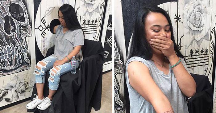 Este famoso tatuador ofrece tatuajes sorpresa GRATIS a la gente si meten el brazo por un agujero