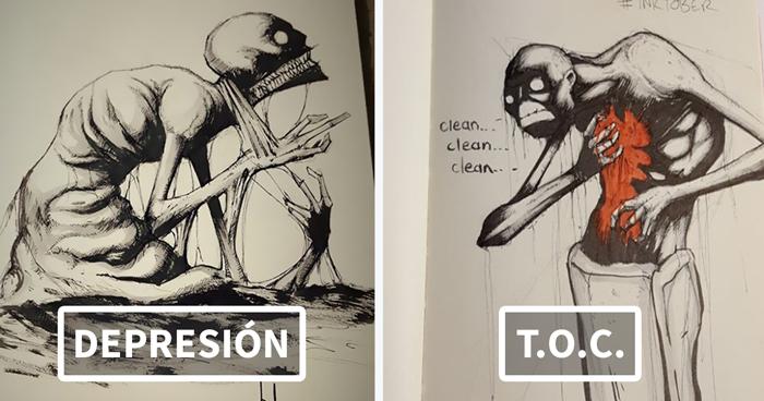 He ilustrado varios trastornos y enfermedades mentales para Inktober