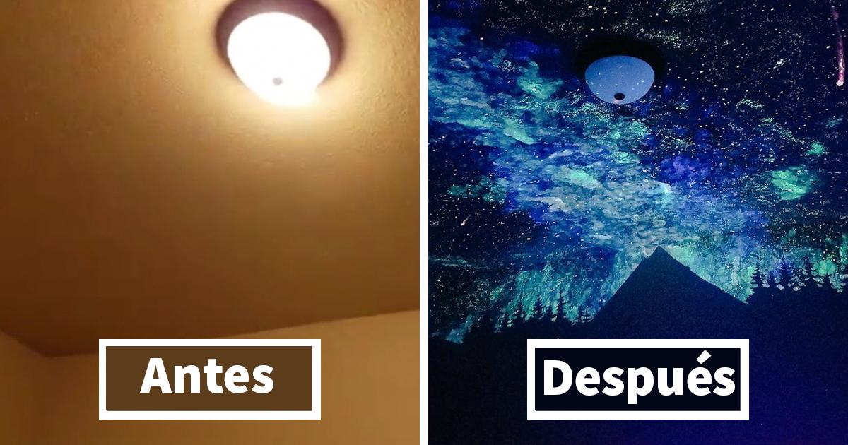 Esta mujer pintó una galaxia que brilla en la oscuridad ...