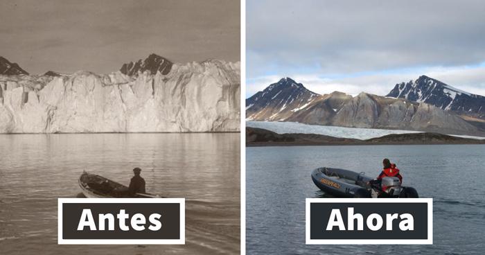 7 Impactantes fotos muestran lo que 100 años de cambio climático han hecho en los glaciares árticos