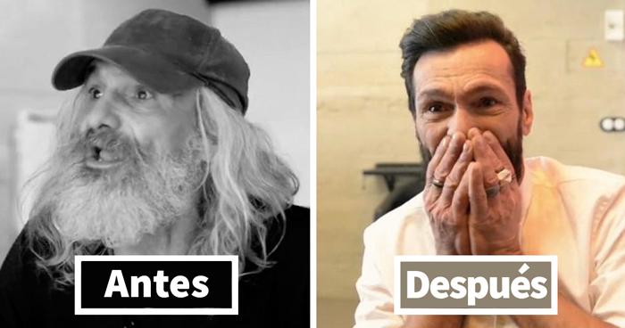 Este indigente rompió a llorar tras verse increíblemente transformado en un hipster