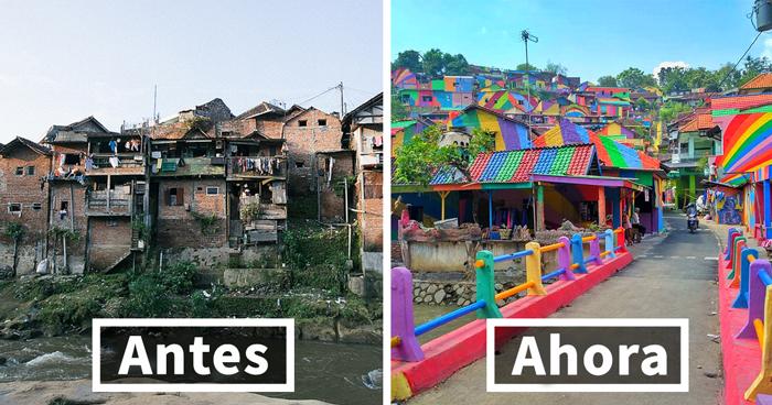 El pueblo arco iris: El gobierno indonesio invierte 22.467$ en pintar 232 casas suburbiales y el resultado es increíble
