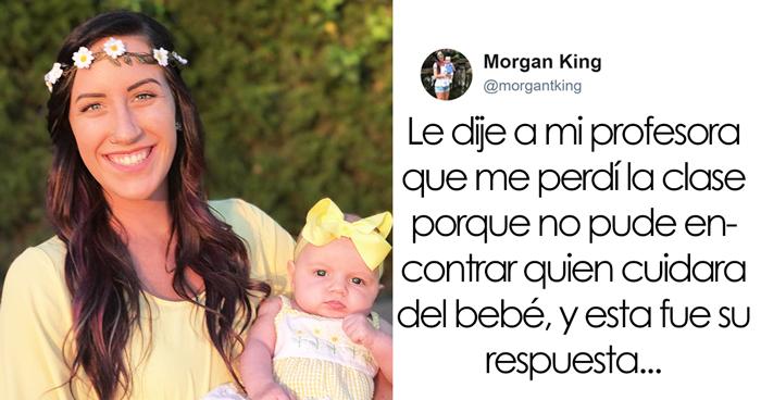 Esta madre soltera comparte la respuesta de su profesora tras no poder ir a clase y triunfa en internet