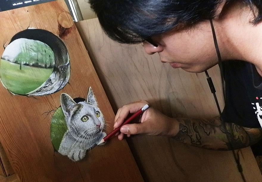 Artista Autodidacta Crea Dibujos Hiperrealistas Sobre Maderos