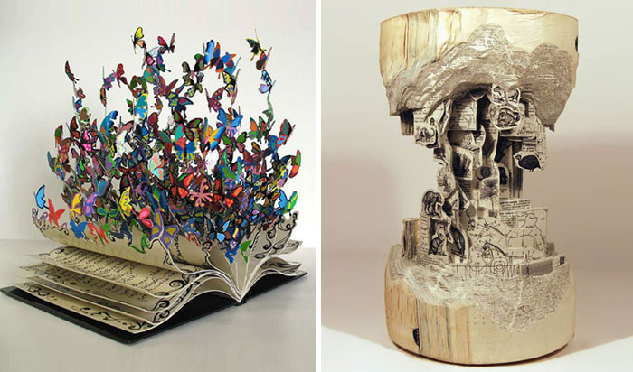 25 Hermosos ejemplares de esculturas hechas en libros