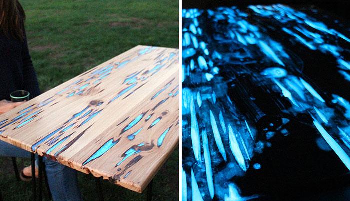 Este Hombre Muestra Cómo Hacer Una Mesa Que Brilla En La Oscuridad Con Barniz Fotoluminiscente