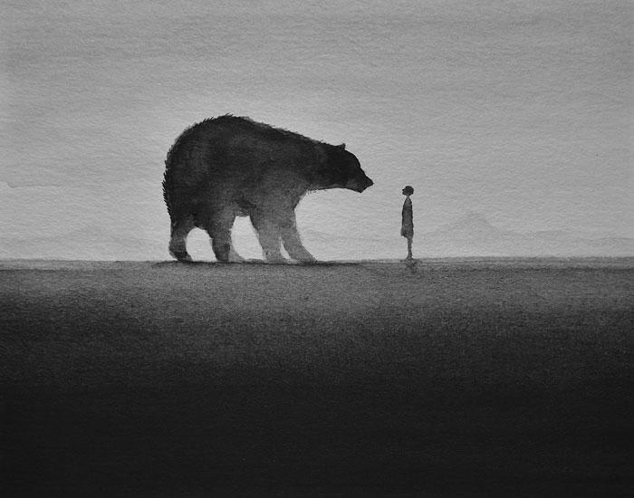 Poéticas acuarelas en blanco y negro que muestran a niños interactuando con animales salvajes
