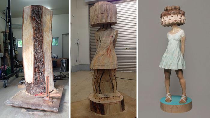 Este escultor japonés muestra cómo transforma la madera en estatuas surreales