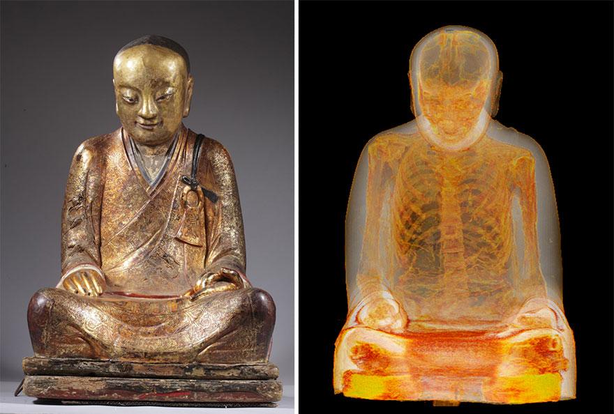 Un escáner revela una momia de 1000 años de antigüedad dentro de una antigua estatua budista