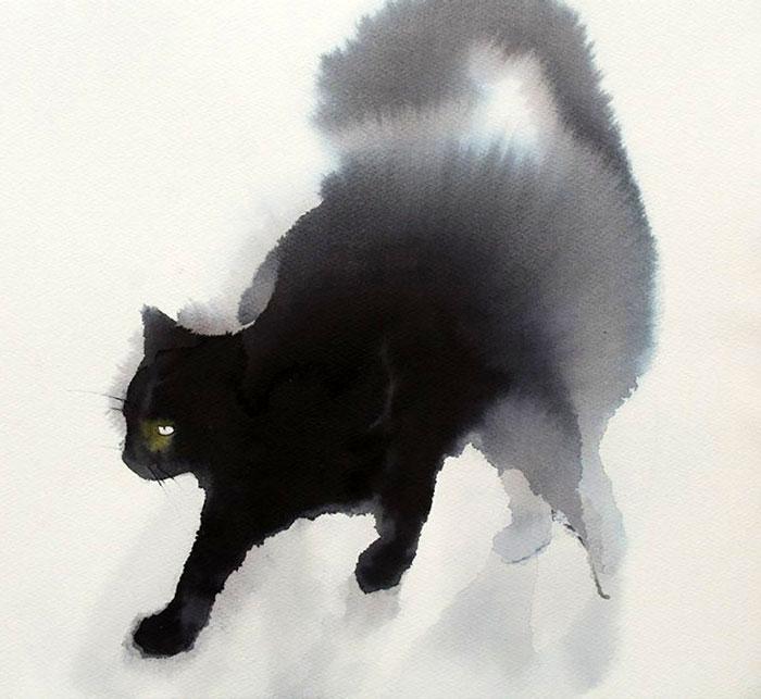 Estos lúgubres gatos negros hechos con acuarelas se diluyen lentamente en el papel