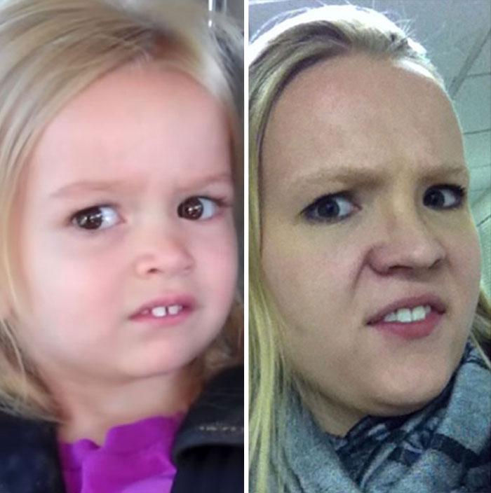 Me gusta imitar las expresiones faciales de los famosos