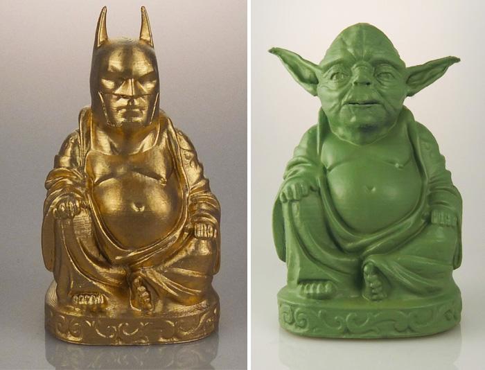 Estas estatuas de Buda te permiten adorar a tus superhéroes y supervillanos favoritos