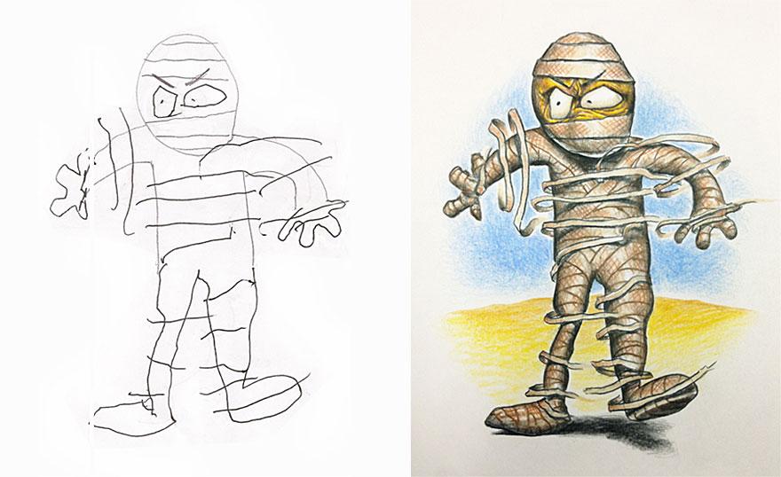 Este padre tan creativo colorea los dibujos de sus hijos durante sus ...