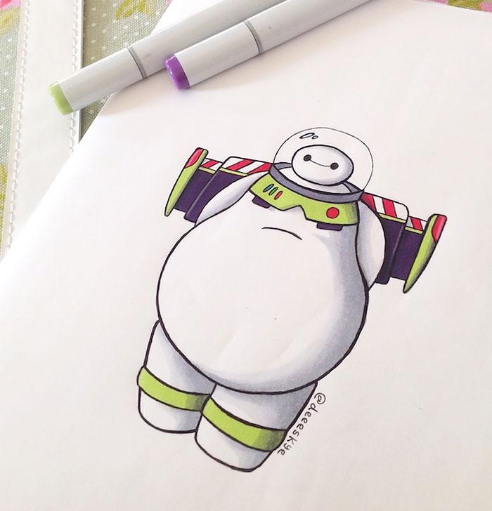 Esta ilustradora autodidacta de 18 años ha reimaginado a Baymax como otros personajes de Disney
