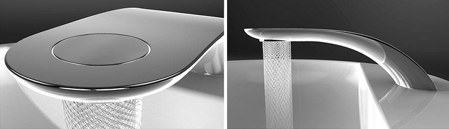 Este diseño de grifo ahorra agua girándola en preciosos entramados