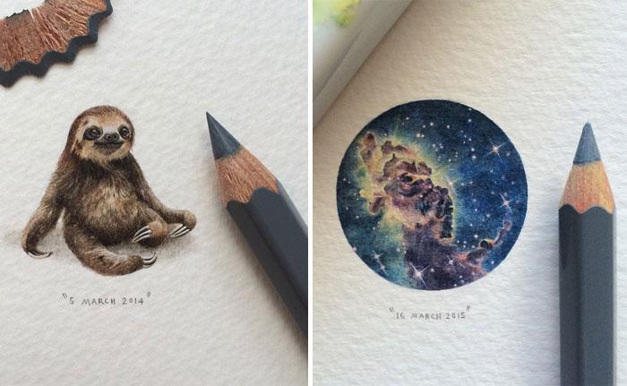 Increíbles pinturas en miniatura de galaxias, animales y libros por Lorraine Loots