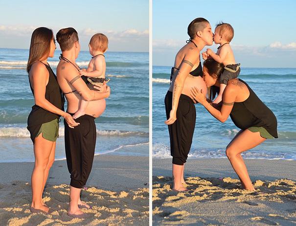 Esta pareja lesbiana publicó fotos de sus embarazos para animar a otras a comenzar una familia