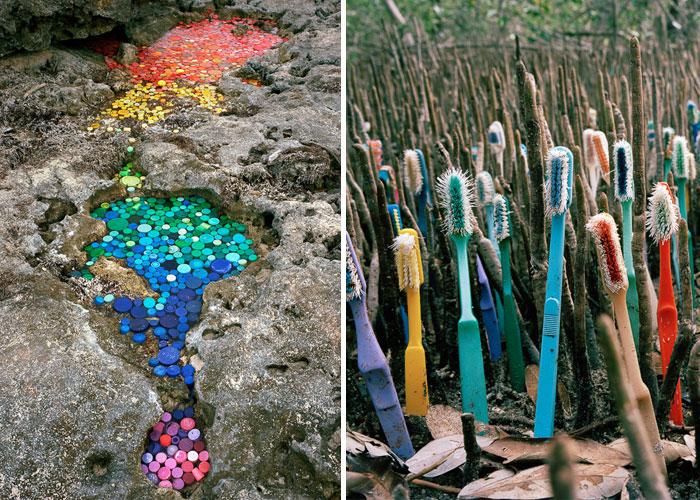 Este artista crea obras con la basura que llega a México procedente de 50 países de todo el mundo