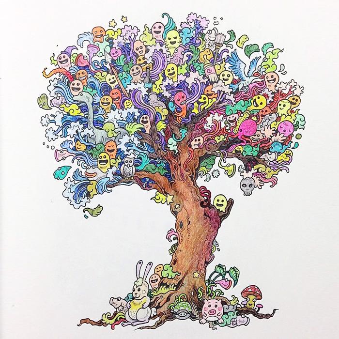 """""""Doodle Invasion"""", el libro de colorear para adultos de Kerby Rosanes"""